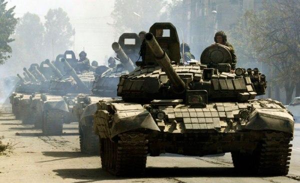 Russian T-72BV column