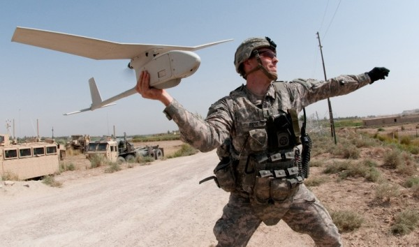 US soldier launching RQ-11 Raven