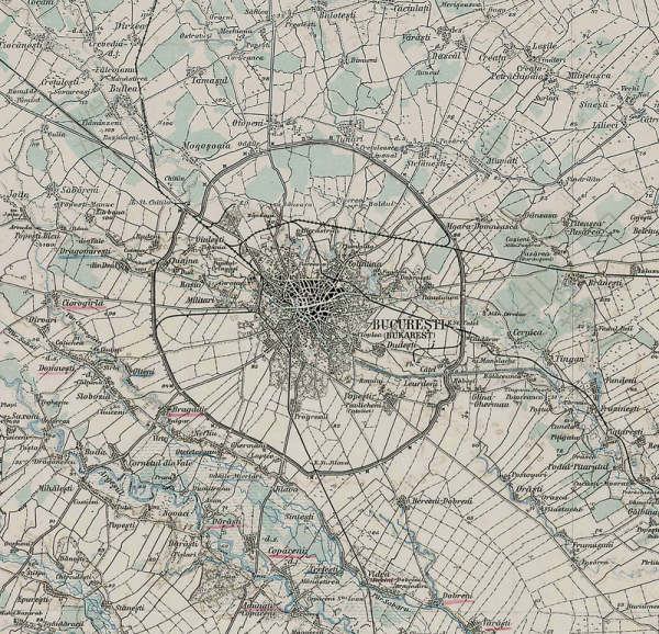 Romania old Bucharest map