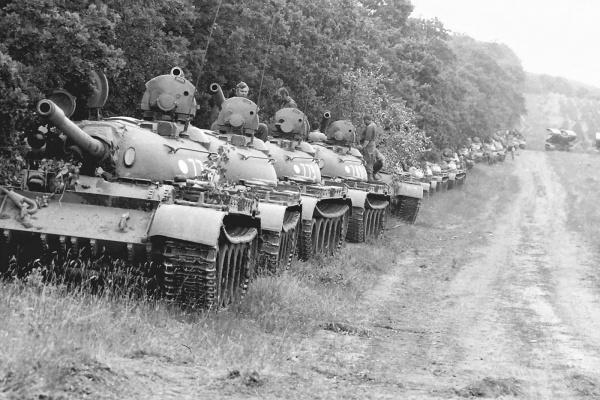 Soviet T-55 column Warsaw Pact